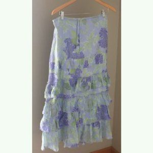 Anthropologie Fei Tiered Maxi Skirt Floral Boho